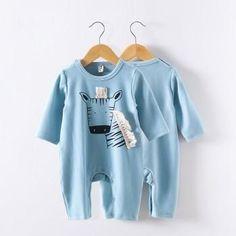 Zebra Long Sleeve Jumpsuit in Light Blue for Baby
