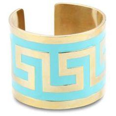 "Lisa Stewart \""Modern Myth\"" 14k Gold-Plated Turquoise-Color Enamel Cuff-Bracelet"