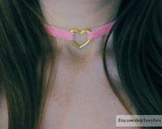 Pink choker velvet choker heart-pendant choker lolita