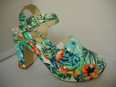 Step out with fresh tropical print for Summer. Fun sandal with heel and platform front. Summer Fun, Spring Summer, High Heels, Shoes Heels, Ascot, Summer Shoes, Shoes Online, Clogs, Tropical