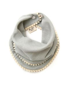 Sage Pom Pom Bib for Girls with Ivory Trim