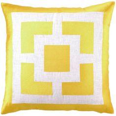 Trina Turk Pillow Embroidered Linen Palm Springs Blocks Yellow PH24TT29YLC20SQ