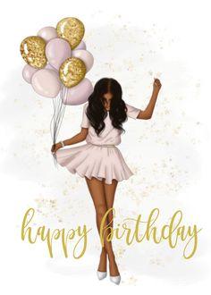 Happy Birthday Woman, Happy Birthday Black, Happy Birthday Greetings Friends, Happy Birthday Wishes Images, Birthday Images, Girl Birthday, Happy Birthday Beautiful Girl, Happy Brithday, Birthday Girl Pictures