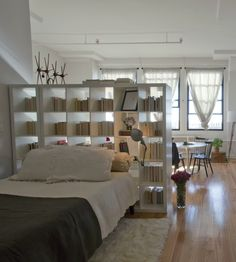 5 Healthy Clever Tips: Room Divider White Shabby Chic living room divider awesome.Kallax Room Divider Home. Studio Apartment Layout, Studio Layout, Apartment Design, Apartment Living, Apartment Makeover, New York Studio Apartment, Brooklyn Apartment, Apartment Interior, Bamboo Room Divider