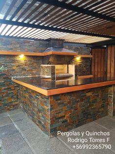 Modern Backyard, Backyard Grilling Area, Kitchen Fireplace, Outdoor Kitchen Design, Backyard Kitchen, Outdoor Kitchen, House Yard, Outdoor Fireplace Designs, Patio Interior