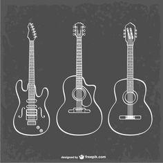 Vectores artísticos de guitarras. Vector Gratis. Fondo negro.