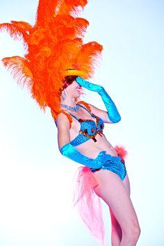 Las Vegas Showgirl Costume  Hot Orange & Turquoise  by Clique Las Vegas