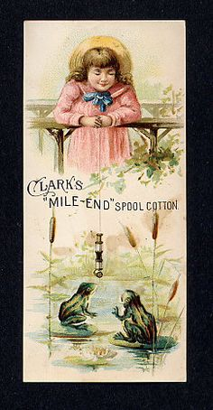 thread Advertising Trade card girl and frogs