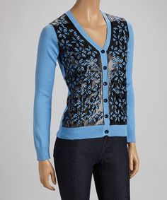 Take a look at this Blue & Black Floral Sweater by ELIO on #zulily today!