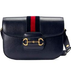 GUCCI Small 1955 Horse bit Navy Blue Red leather handbag shoulder bag NEW