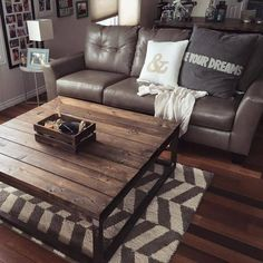 Rustic, modern custom built living room furniture.