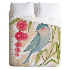 Made in the USA, this playful duvet cover from DENY Designs showcases a charming bird highlighted by a cascade of sprightly blossoms.    ...