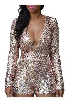 Women's Hot Deep V Front Rose Gold Sequin Backless Playsuit