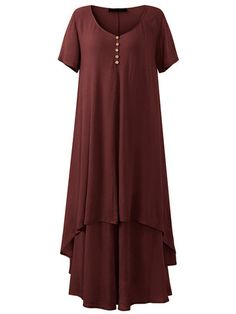 O-NEWE Vintage Solid Short Sleeve Fake Two-Piece Maxi Dress For Women