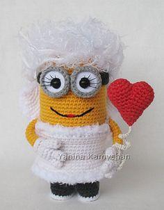 Ravelry: Valentine Girl pattern by Amigurumi Fair, for purchase Crochet Crafts, Crochet Dolls, Crochet Projects, Minion Crochet Patterns, Crochet Minions, Minion Valentine, Doll Crafts, Crochet For Kids, Amigurumi Patterns