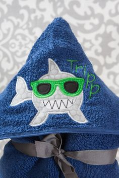 Kid Hooded Towel  Shark  Personalized  by BluePeonyStitches