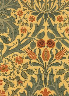 Autumn Flower, a William Morris wallpaper as a postcard