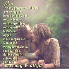 Ma  het my gewys om lief te hê,  om op my eie  twee voete te staan,  om om te gee,  om in myself te glo,  om my instink te vertrou, opgee is nie 'n opsie.. Dankie Ma vir my lewenslesse, raad & liefde.. dat Ma altyd 'n rolmodel is.. Lief Ma  verewig & altyd
