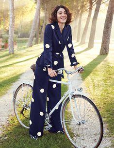 Rhea Blazer Coats & Jackets at Boden Blazers, Yellow Jumpsuit, Picnic Dress, Satin Jackets, Costume, Bleu Marine, Wide Leg Trousers, Look Chic, Wedding Suits