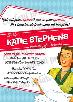 Retro Housewife Bridal Shower Invitation Digital File Shower