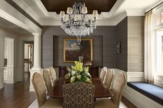Love this design and palette for the dining room. Also love the grasscloth wallpaper.