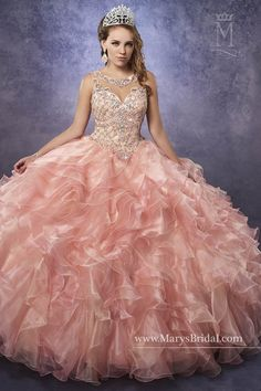 b8914c5857c Princess Collection S17-4Q483 Marys Quinceanera. Organza quinceanera ball  gown with beaded bodice