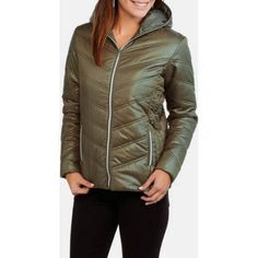 Climate Concepts Women's Hooded Chevron Quilted Jacket, Size: XL, Green
