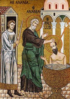 Baptism of Paul in Damascus - Palatine Chapel, Palermo