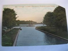 1910 Bobcaygeon Ontario Canada Boat Stamp Posted RPPC Postcard Ship in Canal