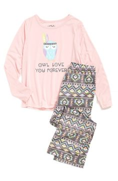 PJ Salvage 'Owl Love You Forever' Two-Piece Pajamas (Little Girls & Big Girls) available at #Nordstrom