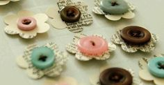 buttons and flowers | Appetisers | Pinterest | Vintage paper, Flower and Embellishments