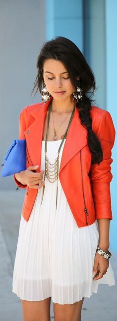 White dress and bright blazer.must get a bright blazer! Fashion Trends 2018, 2015 Trends, Coral Jacket, Orange Jacket, Orange Blazer, Coral Blazer, Bright Jacket, Colored Blazer, Orange Leather Jacket