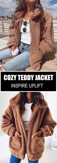 Cozy Teddy Jacket - ★★★★★ A warm, oversized collar overcomes this . Trendy Outfits, Cute Outfits, Fashion Outfits, Fasion, Style Fashion, Fashion Trends, Fall Winter Outfits, Winter Fashion, Winter Ootd