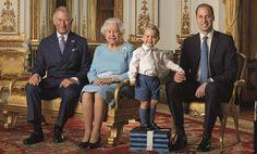 Isabel II, con su hijo Carlos, su nieto Guillermo y el pequeño Jorge.