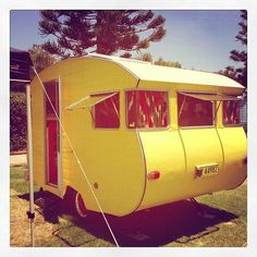 Yellow Caravan :-) Holiday Accommodation, Sounds Like, Caravans, Outdoor Gear, Camping, Let It Be, Adventure, Yellow, Campsite