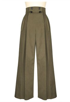 Look hip in these pleated wide-leg retro inspired pants! These high waisted pants have four buttons on the front that function for the opening, with convenient