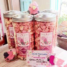 Cute pink olive popcorn from Kotori cafe, Tokyo 〳 ° ▾ ° 〵