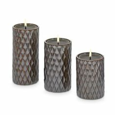Exclusive diamond pattern sets an elegant stage for tealights or large tealights, sold separately. The holders are the same size as our roun...
