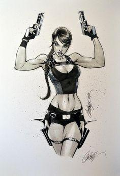 J Scott Campbell Lara Croft Tomb Raider Art Sketches, Art Drawings, Drawing Art, J Scott Campbell, Tomb Raider Lara Croft, Sexy Cartoons, Comics Girls, Comic Art Girls, Marvel Girls