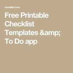 Free Printable Checklist Templates & To Do app