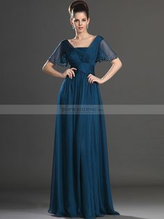 Butterfly Sleeved Chiffon Empire Mother of the Bride Dress