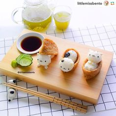 littlemissbento Meowwww Kitty Cat Inari Sushi .  This is cute I can hardly stand it!