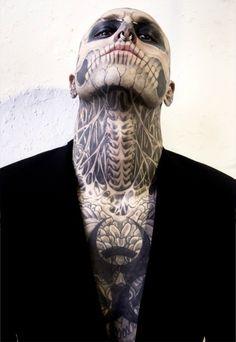 Rick Genest/Rico The Zombie/Zombie Boy Boy Tattoos, Trendy Tattoos, Body Art Tattoos, Sleeve Tattoos, Tattoos For Guys, Tatoos, Rick Genest, Cover Tattoo, I Tattoo
