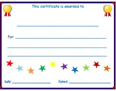 Free Resources for ESL Kids Teachers: Printable certificates, lesson plan templates & attendance sheets. Preschool Certificates, Printable Certificates, Award Certificates, Kids Awards, Student Awards, Blank Certificate Template, Behavior Cards, Birthday Certificate, Star Students