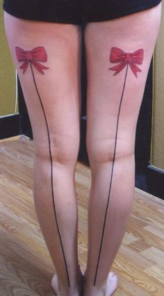 A smaller bow I think, but this would be cute Thigh Band Tattoo, Leg Tattoos, Cool Tattoos, Garter Tattoos, Lace Tattoo, I Tattoo, Sexy Tattoos For Women, Tattoo Fails, Simple Mandala