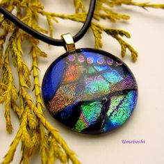 Talisman of Sweet Dreams Handmade Dichroic Fused Glass Jewelry Pendant | Umeboshi - Jewelry on ArtFire