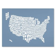 30 in. x 47 in. USA States Text Map - Steel Canvas Art