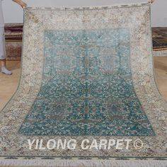 Yilong 6'x9'  handmade turkish silk carpets light blue hand knotted persian isfahan rug for sale (0997)
