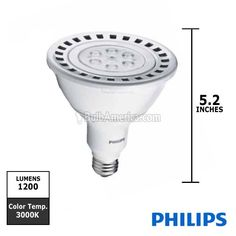 Philips EnduraLED PAR38 Dimmable LED Lamps with AirFlux Technology provide optimal thermal efficiency in a sleek, lightweight design.   High efficacy dimmable LED reflector lamp • 19.5W PAR38 saves 100.5 watts of energy when compared to a 120W halogen PAR38 • 45,000-hour rated average life • Smooth dimming to 10% of full light levels • Excellent color rendering of 83 CRI • Instant-on light • Emits virtually no UV/IR light in the beam • Contains no mercury