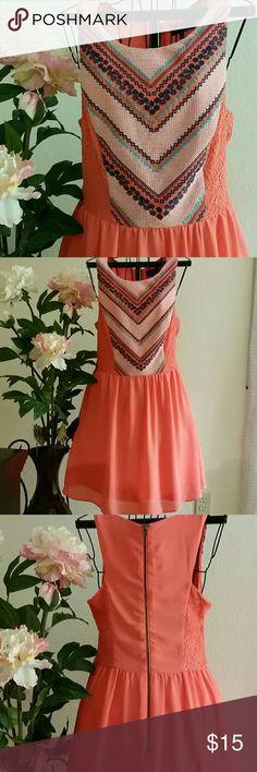 MY MICHELLE, Orange Dress Orange dress with a floral V-pattern 100% polyester My Michelle Dresses Midi